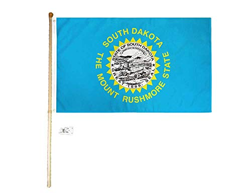 AWS 3x5 3'x5' South Dakota State Polyester Flag with 5' (Foot) Flag Pole Kit with Wall Mount Bracket & Screws (Imported)
