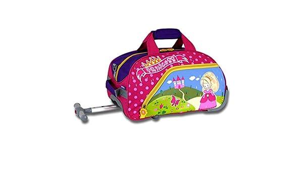 Amazon.com   Kids Pink Cute Princess Themed Wheeled Duffle Bag Upright  Rolling Duffle 4ff36eade1665