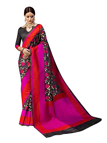 ELINA FASHION Sarees for Women Banarasi Art Silk Woven Saree l Indian Wedding Wear Sari (Black 4)