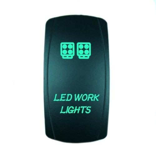 Laser Green Rocker Switch LED WORK LIGHTS 20A 12V On/off LED Light STVMotorsports