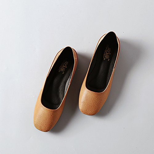 Xue Qiqi Court Schuhe Weiblicher Flacher Mund der Runden Flachen Schuhe Flach mit Retro- Wilder Frau der Bequemen zufälligen Schuhe
