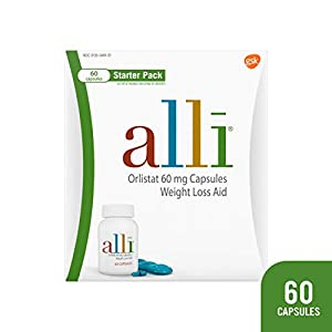 Health Shopping alli Diet Weight Loss Supplement Pills, Orlistat 60mg Capsules Starter Pack, Non prescription weight loss aid, 60 count