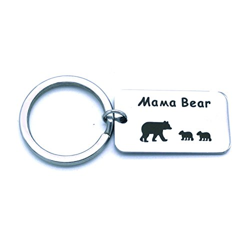 - Romanticworks Sweet Mama Bear Keychain Mother Jewelry Stamped Tag for Mom (2 Cubs Keychain)