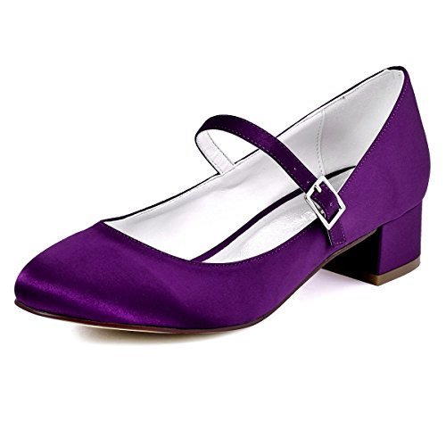 ElegantPark Women Closed Toe Chunky Heel Mary Jane Pumps Satin Evening Wedding Dress Shoes Purple W0xEpS