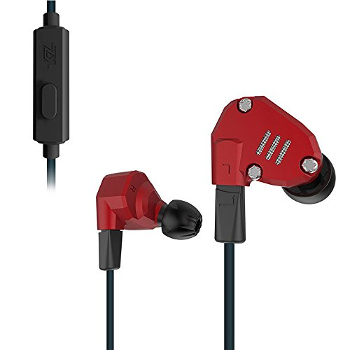 KZ ZS6 Quad Driver High Fidelity Extra Bass Hifi In Ear Earphone Detachable Cable (Red With Mic) by KZ