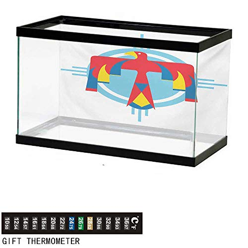 (wwwhsl Aquarium Background,Southwestern,Native American Mysterious Symbol of Thunderbird Abstract Artistic Tribal Icon,Multicolor Fish Tank Backdrop 24