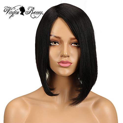 QVR L Part None Lace Front Wigs Human Hair Wigs for Black Women Machine Made Bob Wigs Side Part Black Wig 10 inch Wigs on Sale for Black Women COlor -