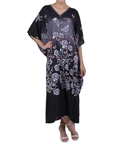 72e5f462dc Miss Lavish London Kaftan Tunic Plus Size Beach Cover Up Maxi Dress  Sleepwear Embellished Kimonos Black
