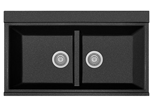 Zuhne 33 x 20 Inch Black Granite Low Divide Top Mount Kitchen Sink Workstation with Strainer Set, Crystal Glass Chopping Board Set, Colander and Grid - Markings Crystal Bowls