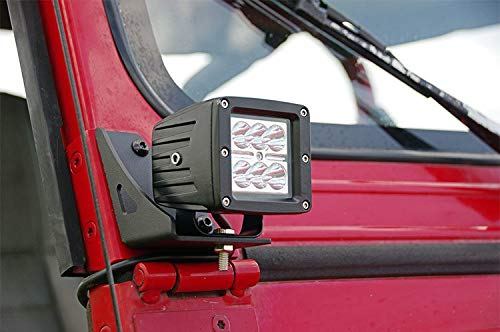 Rough Country - 70510 - Lower Windshield Light Mounts (Jeep YJ) for Jeep: 87-95 Wrangler YJ 4WD (Jeep Hinge Wrangler Windshield)