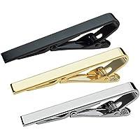 Lystaii 3pcs Tie Bar Clip, Tie Tack Pins Tie Clips Men Silver Gold Black Necktie Bar Pinch Clip Set 2.2 inch Metal Clasps Business Professional Fashion Assorted Designs