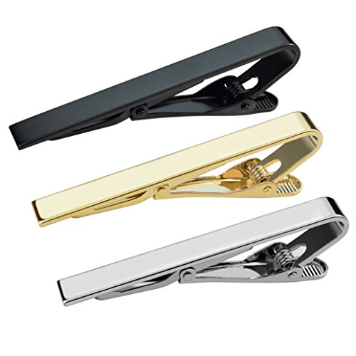 Lystaii 3pcs Tie Bar Clip, Tie Tack Pins Tie Clips for Men Valentine's Day Gift Silver Gold Black Necktie Bar Pinch Clip Set 2.2 Inch Metal Clasps Business Professional Fashion Assorted Designs