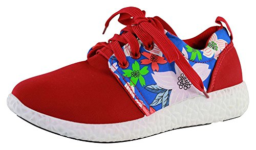 New Womens Lace Up Trainers Flower Flat Gym Running Comfy Ladies Shoes Sizes Red VHYFL