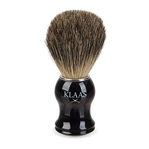KLAAS Dachshaar-Rasierpinsel aus 100% echtem, reinem Dachshaar mit Griff in hochwertiger Ebenholzoptik und 2 Jahren Zufriedenheitsgarantie - Rasierschaum-Pinsel / Rasurzubehör