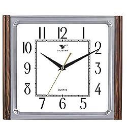 zsqebd Wall Clock 13Inch/3329Cm Square Wood Grain Living Room Office Home Mute Wall Clock, D