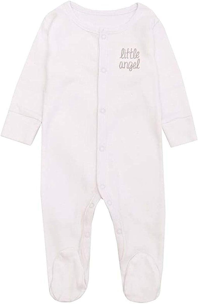 Babygrow Girls Boys Unisex Newborn White Little Angel Pure Cotton Romper Sleepsuit 0-6 Months
