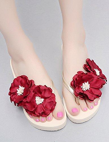 EU38 arrastrar Verano con A UK5 playa gruesas con Tamaño 5 Color Zapatillas palabra anti frescas femenino zapatillas inferior A CN38 la suave Flores zapatillas de qxtI4Rq