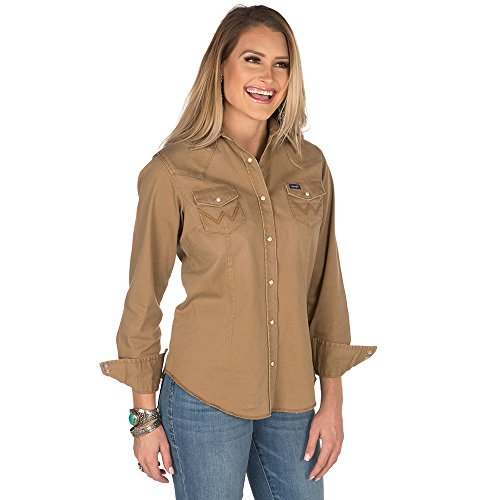 Wrangler Women's Long Sleeve Western Snap Work Shirt, Rawhide, L ()