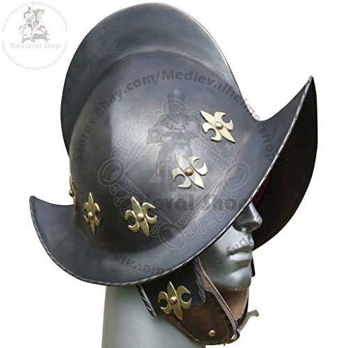 QUALITYMUSICSHOP New SCA LARP 16GA Spanish Morion Helmet Medieval Conquistador Costume Armor]()