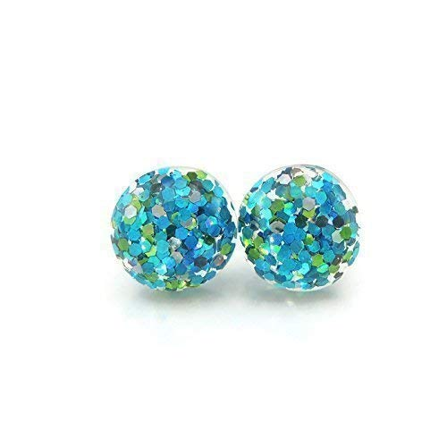 Aqua Glitter Filled Earrings With Green and Silver on Plastic Posts