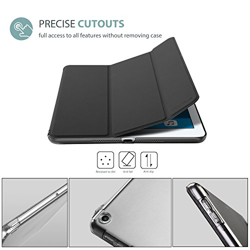 Large Product Image of ProCase iPad 9.7 Case 2018 iPad 6th Generation Case / 2017 iPad 5th Generation Case - Ultra Slim Lightweight Stand Case with Translucent Frosted Back Smart Cover for Apple iPad 9.7 Inch –Black