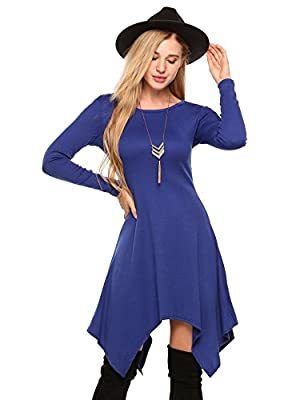 Beyove Women Asymmetrical Loose Fit T-Shirt Dress Irregular Long Sleeve Casual Tunic Dress