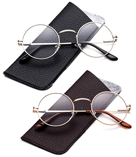 - John Lennon Glasses Hippy 60's Vintage Retro Round Designer Inspired Walrus Style Sunglasses & Clear Lens Eye Glasses with Comfortable Spring Temple