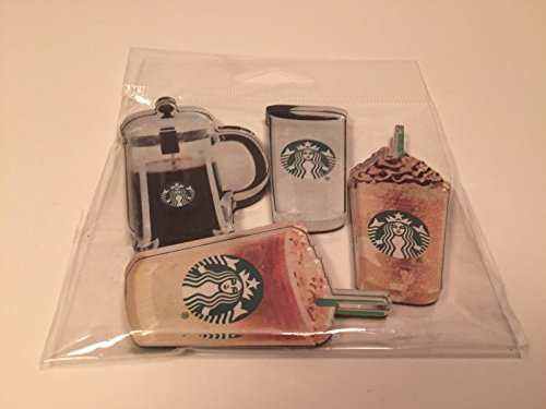 Starbuck Custom Coffee Acrylic Magnet 4 Pack Frappuccino, To-Go Cup, Iced Coffee, French (Starbucks French Coffee Press)