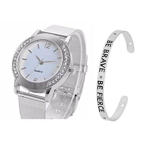 Loweryeah Women 2 Pcs Quartz Watch Cuff Engraved Bangle Bracelet Set Watch with Mesh Band (Silver Color)