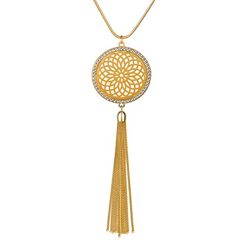 Long Necklace for Women Y Shaped Tassel Necklaces Disk Hollow Flower of Life Pendant Crystal Circle