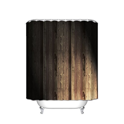 New FANNEE Rustic Wood Theme Grain Textured Striped Polyester Waterproof Shower Curtain 54X78 Inches