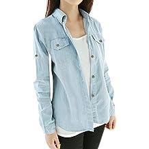 Allegra K Women's Rolled Sleeves Point Collar Western Denim Shirt