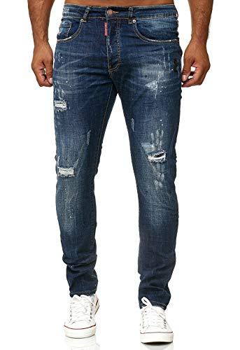 H2496 Scuro Pantaloni Jeans look Uomo Gutti Fit Slim Blu Usato Leo pBqvU8xOwn
