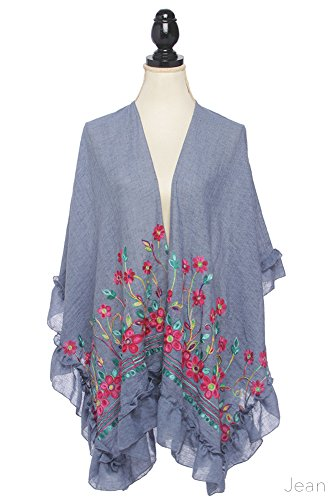 b3ebb320203b65 ScarvesMe Elegant Flower Embroidered Short Sleeve Open Front Kimono  Cardigan Cover Up With Ruffles (Jean