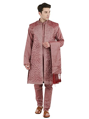 SKAVIJ Men's Embroidered Kurta Pajama Jacket and Stole Set (Large, - Kurta Mens