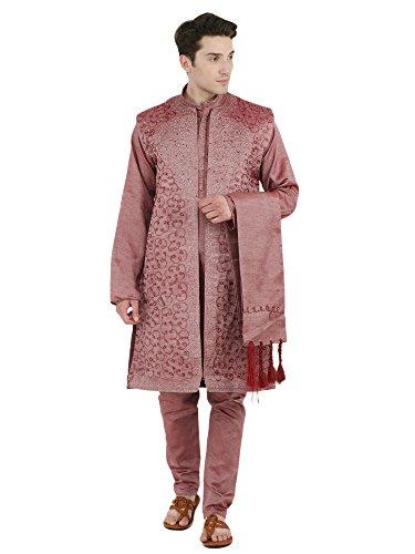 (SKAVIJ Men's Embroidered Kurta Pajama Jacket and Stole Set (Medium, Pink))