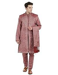 SKAVIJ Men's Embroidered Kurta Pajama Jacket and Stole Set (Pink, Large)