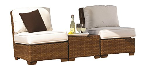 Panama Jack Outdoor 3-Piece St Barths Armless with Cushions Set, Includes 2 Armless, 1 Coffee Table with Umbrella Hole from Panama Jack Outdoor