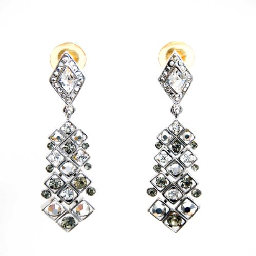 ST. John Pentagon Dual Tone Smoke and Crystal Earrings in Rhodium Setting by St. John