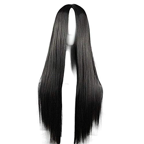 Halloween Costumes Black Wigs (29.5'' Womens Long Straight Synthetic Black Wig Girls Anime Cosplay Halloween Costume Party)