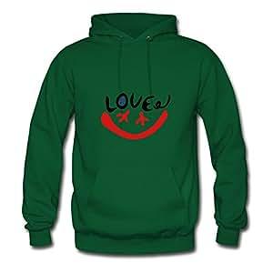 Women Love_peace_smile_face Customizable O-neck Cotton Green Hoodies X-large
