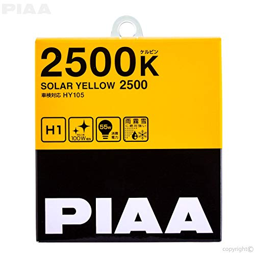 PIAA 22-13401 H1 Solar Yellow Twin PACK-2500K-12V 55W, 2 Pack