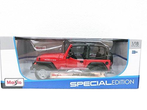 Amazon.com: Maisto Red Jeep Wrangler Rubicon - 1:18 Diecast Model Car Black Special Edition: Toys & Games
