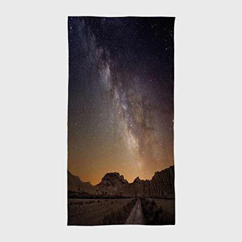 One Side Printing Hotel SPA Beach Pool Bath Hand Towel,Night Milky Way over Desert of Bardenas Spain Ethereal View Hills Arid Country Decorative Plum Apricot Chocolate,for Kids Teens and Adults by iPrint