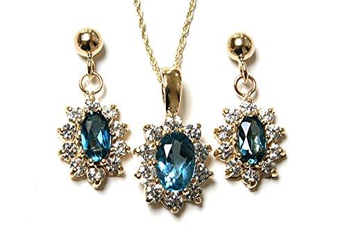 Or 9 carats avec topaze bleue et zircon cubique pendentif et boucles d'oreilles-Grappe.