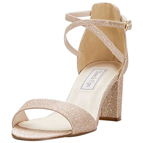 David's Bridal Crisscross Strap Mid-Heel Sandals Style Jackie, Champagne, 8