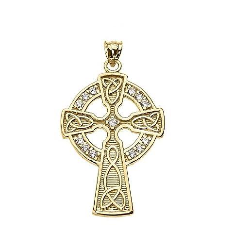 14k Yellow Gold Celtic Cross Diamond Accent (Oro Celtica Claddagh Croce)
