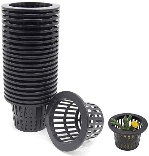 Acidea 20Pack 4inch Hydroponics Mesh Net Cup Pots Basket Garden Supplies Aquaponics System Black