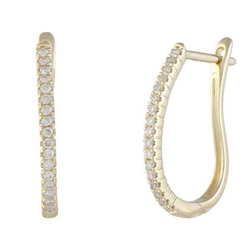(.25ct 14K Yellow Gold Diamond Oval Hoop Earrings)
