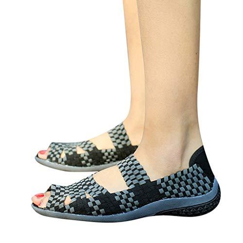 Outtop(TM) Women's Summer Fashion Flat Sandals Ladies Woven Multi Colors Peep Toe Casual Sandals Shoes (US:7, Black)